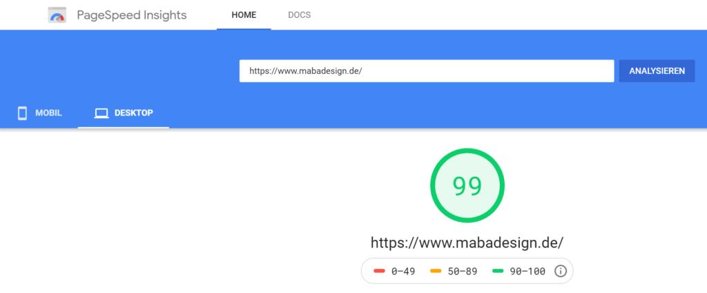 Bild von Pagespeed mabadesign Webseite auf dem Desktop