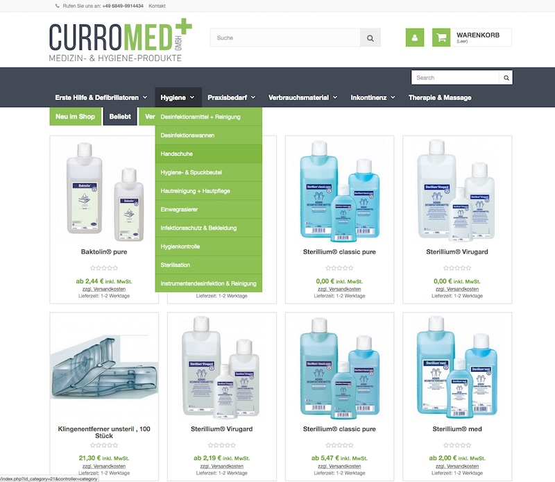 curro-med Webseite