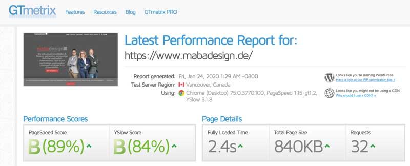 Bild von gtmetrix Score mabadesign