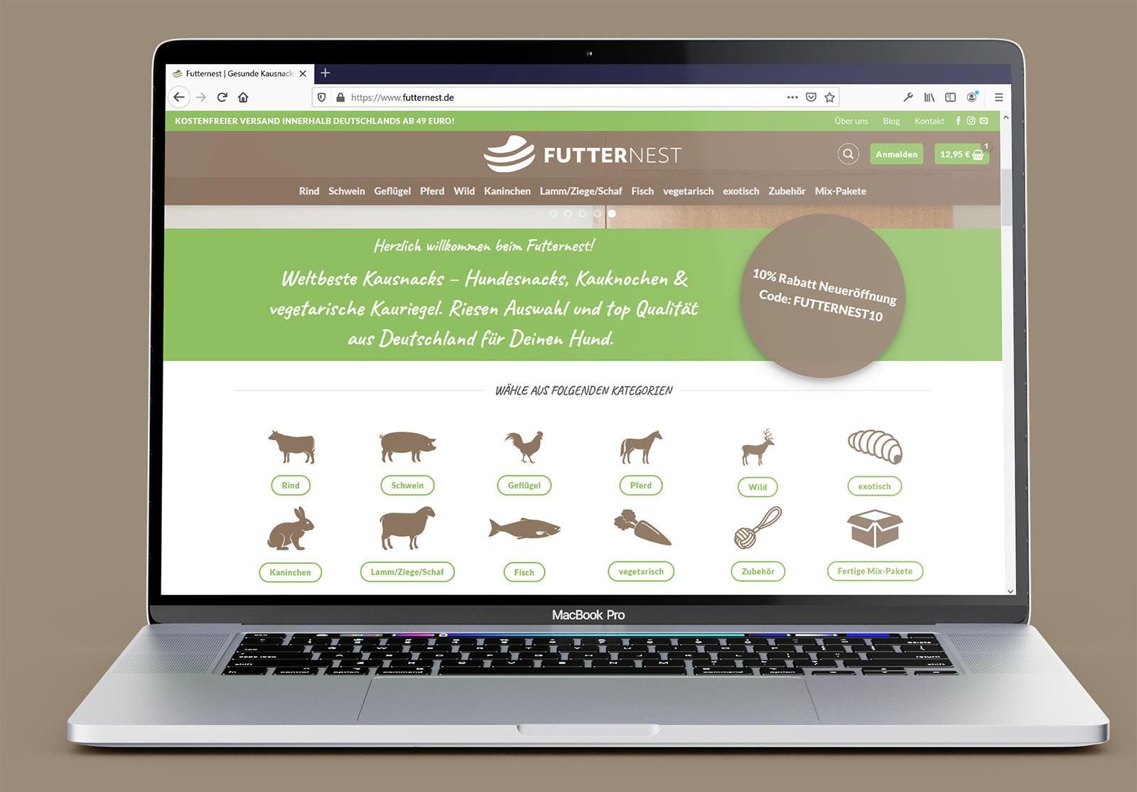 Bild von einem Macbook Screenshot von Futternest.de
